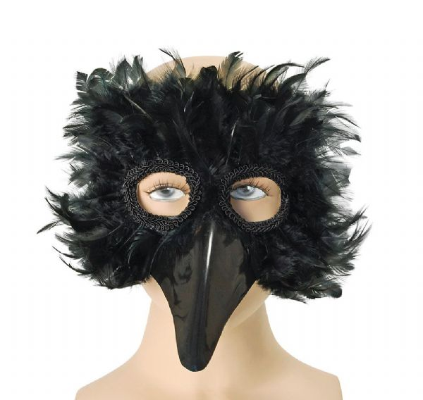 Black Bird Feather Eyemask Flying Animal Fancy Dress